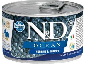 N&D DOG OCEAN Adult Herring & Shrimps Mini 140g  Kup 1ks a přidám ti 1ks ZDARMA!