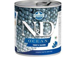 N&D DOG OCEAN Adult Trout & Salmon 285g  Kup 1ks a přidám ti 1ks ZDARMA!