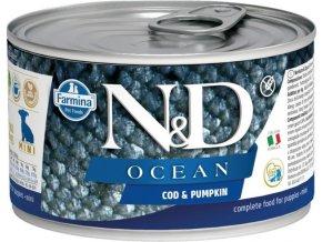N&D DOG OCEAN Puppy Codfish & Pumpkin Mini 140g  Kup 1ks a přidám ti 1ks ZDARMA!