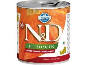 N&D DOG PUMPKIN Puppy Chicken & Pomegranate 285g  Kup 1ks a přidám ti 1ks ZDARMA!