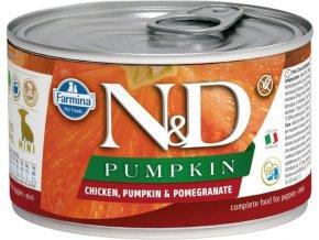 N&D DOG PUMPKIN Puppy Chicken & Pomegranate Mini 140g  Kup 1ks a přidám ti 1ks ZDARMA!