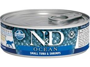 N&D CAT OCEAN Adult Small Tuna & Shrimps 80g  Kup 1ks a přidám ti 1ks ZDARMA!