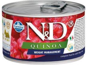 N&D DOG QUINOA Ad. Weight Mnmg Lamb&Brocolli Mini 140g  Kup 1ks a přidám ti 1ks ZDARMA!