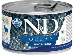 N&D DOG OCEAN Adult Trout & Salmon Mini 140g  Kup 1ks a přidám ti 1ks ZDARMA!