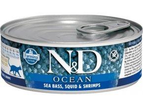 N&D CAT OCEAN Adult Sea Bass & Squid & Shrimps 80g  Kup 1ks a přidám ti 1ks ZDARMA!