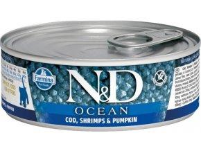 N&D CAT OCEAN Kitten Codfish & Shrimps & Pumpkin 80g  Kup 1ks a přidám ti 1ks ZDARMA!