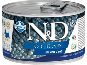 N&D DOG OCEAN Adult Salmon & Codfish Mini 140g  Kup 1ks a přidám ti 1ks ZDARMA!