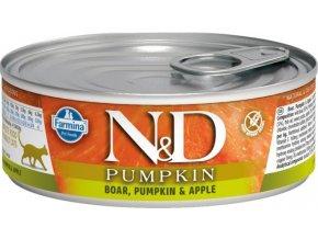 N&D CAT PUMPKIN Adult Boar & Apple 80g  Kup 1ks a přidám ti 1ks ZDARMA!