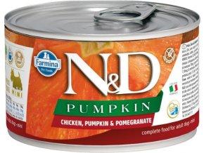 N&D DOG PUMPKIN Adult Chicken & Pomegranate Mini 140g  Kup 1ks a přidám ti 1ks ZDARMA!