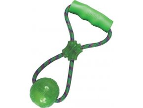 Hračka guma SQUEEZZ míč s držadlem Kong M