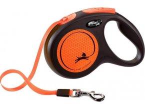Vodítko FLEXI Neon M pásek 5m/25kg černá/oranžová NEW