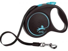 Vodítko FLEXI Black Design M pásek 5m/25kg modrá NEW