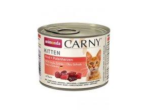 ANIMONDA konzerva CARNY Kitten - hovězí + krůtí srdce 200g