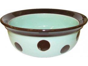 Miska keramická Puntík - zelenkavo/hnědá RW 15 cm