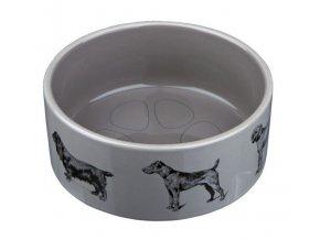 Keramická miska šedá s fotkami psů 0,6 l / 16 cm  Poslední kus