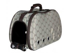 Kufřík SISSY béžovo-hnědý s kostičkami 20x31x50 cm