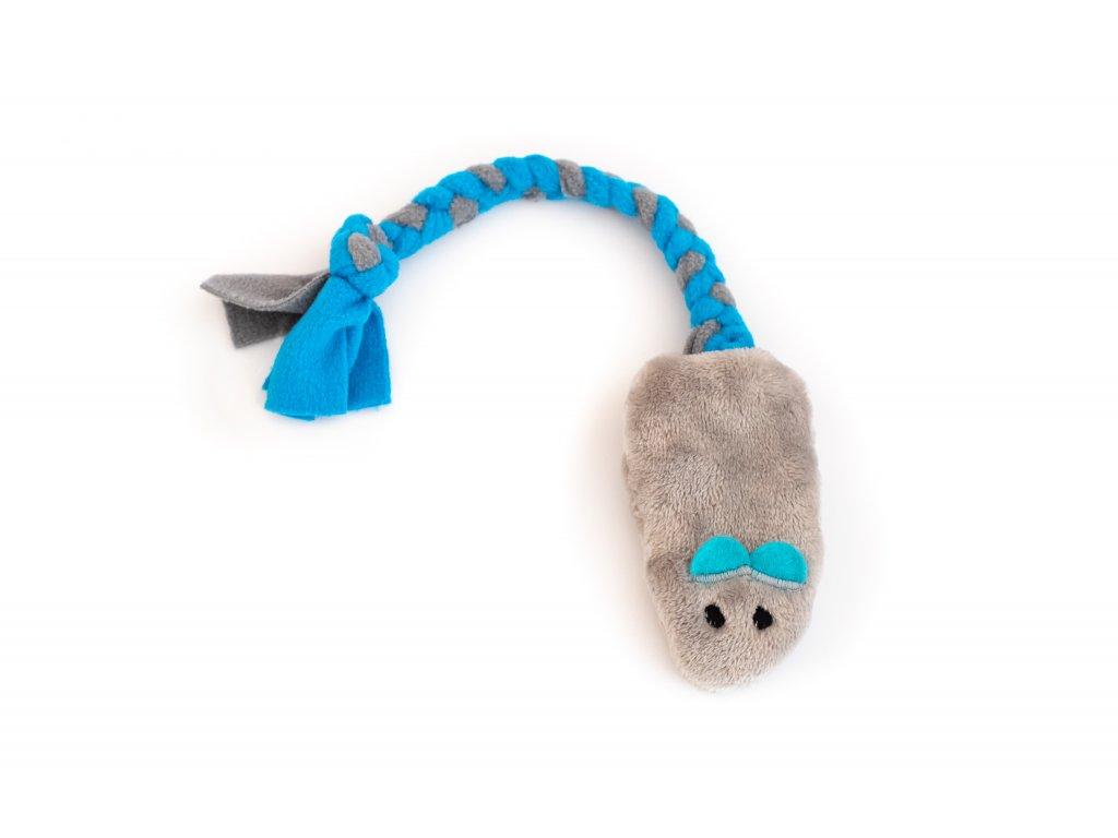 Plyšová myška šedá s modrými oušky