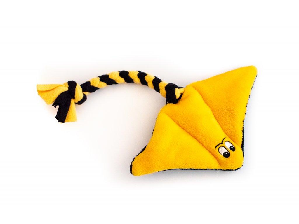 Plyšový rejnok malý žluto-černý