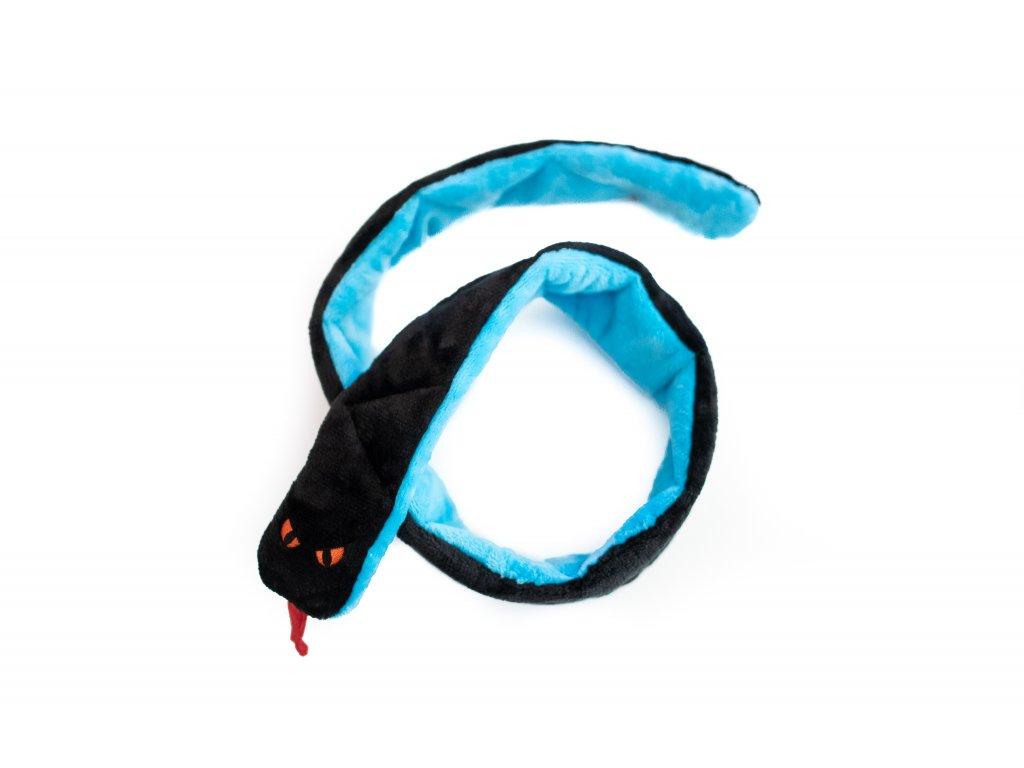 Plyšový had černo-modrý