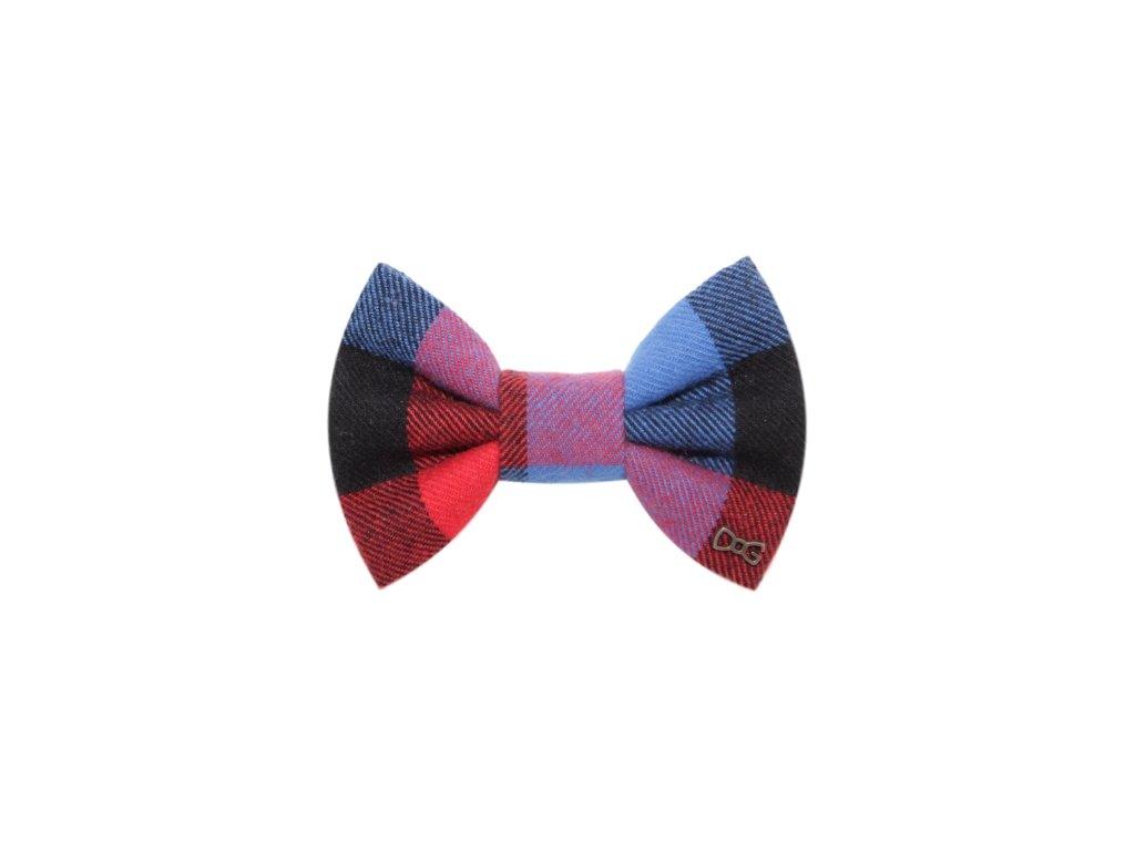 FD35 Funky Dog Motýlek modro-červené káro flanel