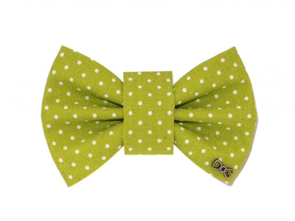 Funky Dog Motýlek zelený s malými puntíky