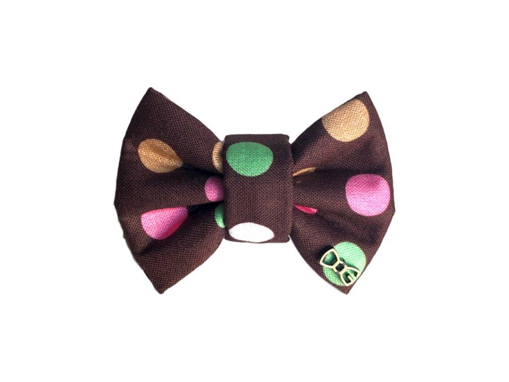 Funky Dog Motýlek hnědý s tečkami
