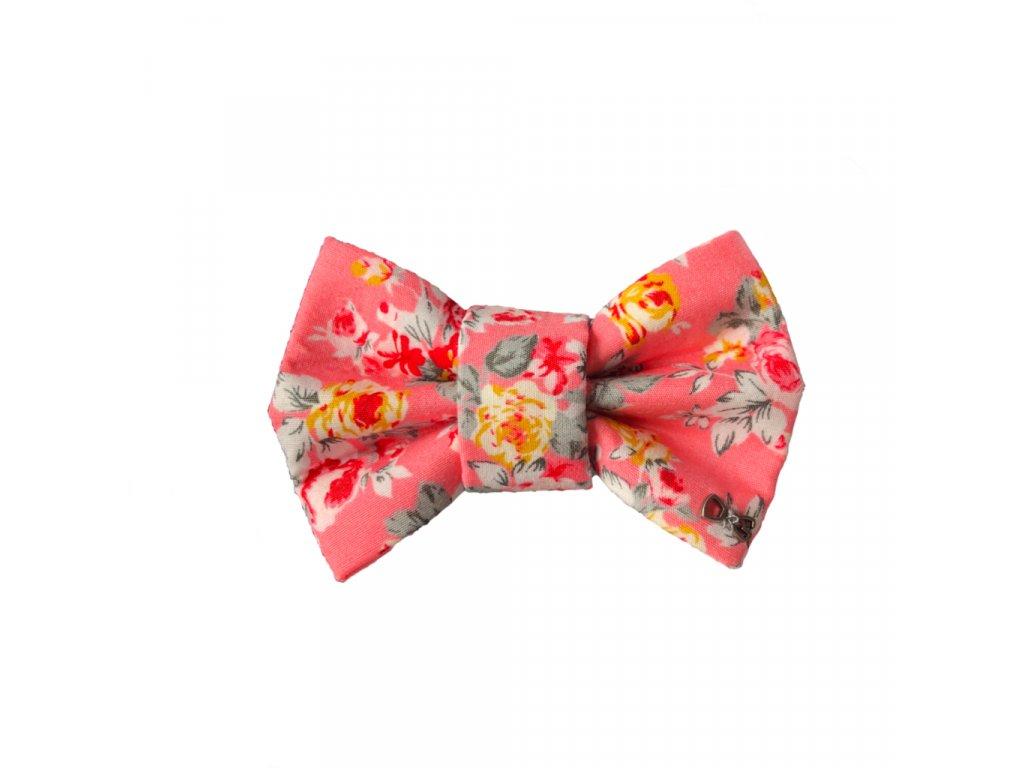 Funky Dog Motýlek růžový květovaný