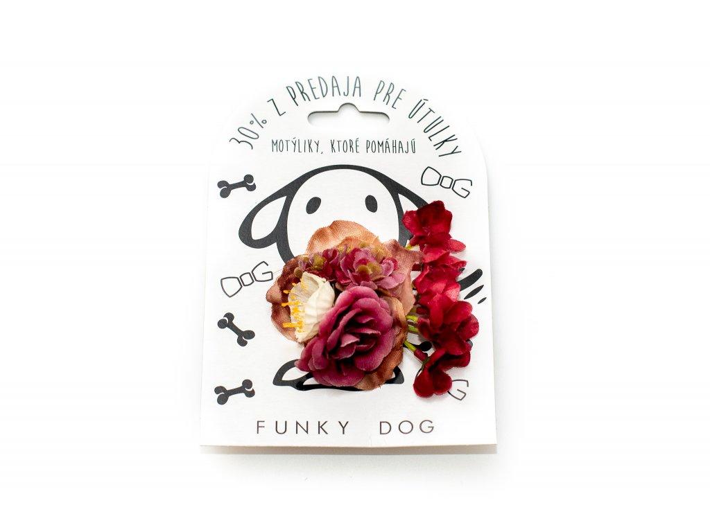 Funky Dog květinka velká tmavě růžová