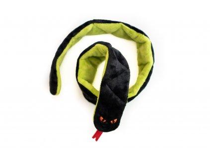Plyšový had černo-zelený