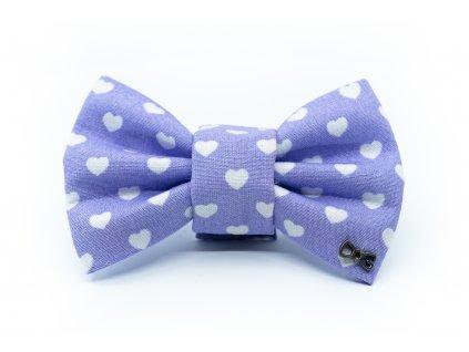 Funky Dog Motýlek fialový se srdíčky