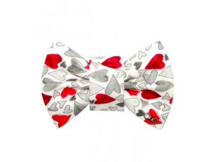 FD27 Funky Dog Motýlek bílý s šedivýmí a červenými srdíčky