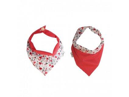 Funky Dog šátek červený puntík malý + srdíčka
