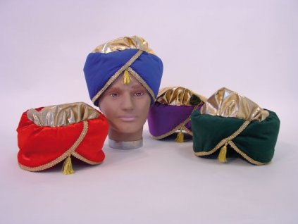 turban modry cerveny