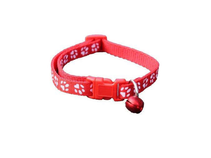 Obojok pre psíka s labkami červený