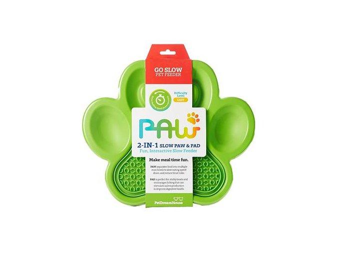 Spomaľovacia miska 2v1 PAW zelená