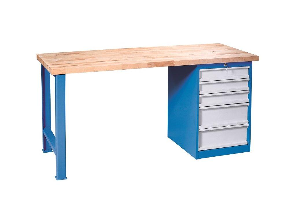 Pracovní stůl se skříňkou,5 x zásuvka na ložiskách VBV 1505S