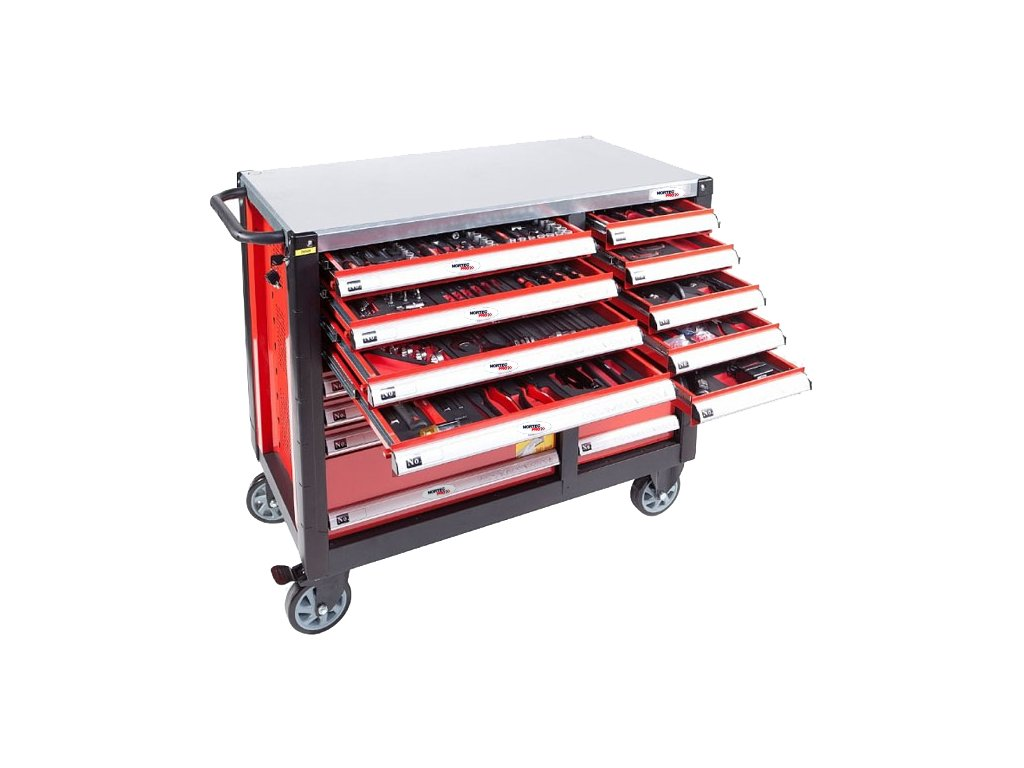 Dílenský vozík  vybavený - 16 zásuvek, 447 nástrojů