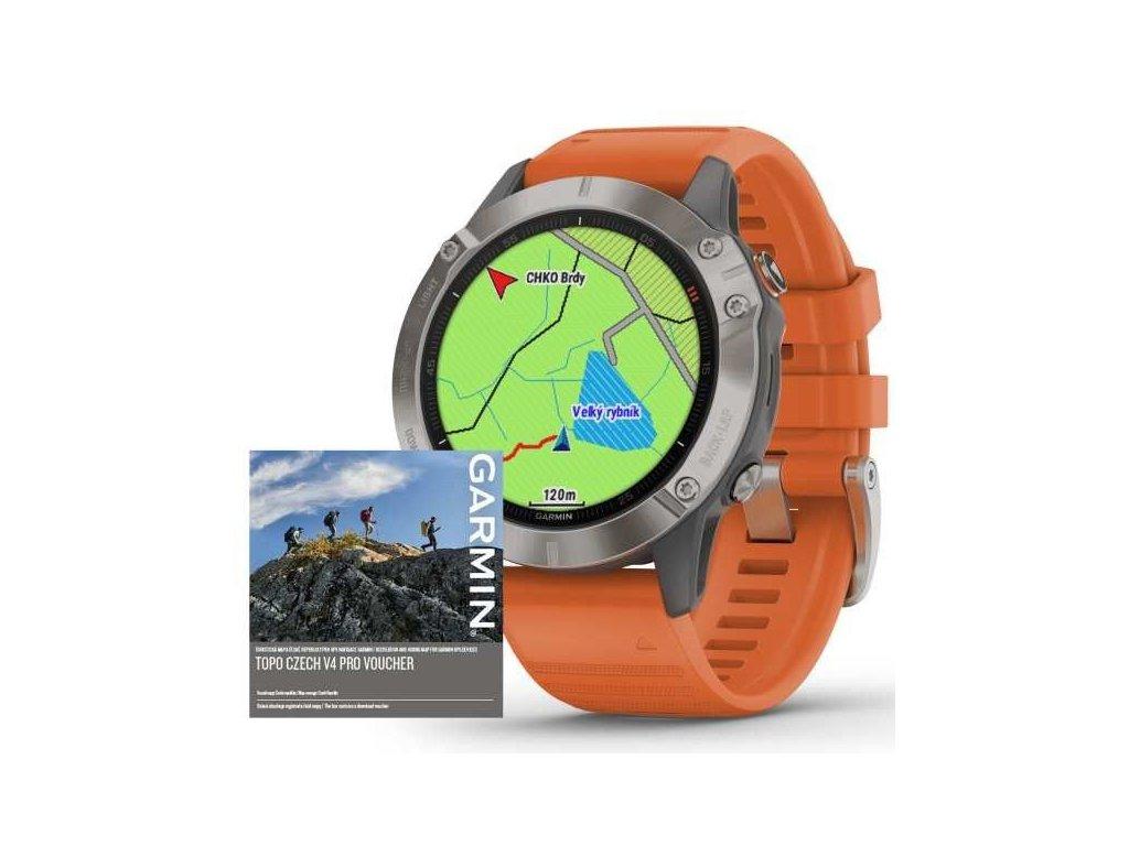 Garmin fenix6 PRO Sapphire, Titanium/Orange Band (MAP/Music)  Produkt z CZ distribuce s ovládáním v ČJ + tvrzené sklo na displej ZDARMA