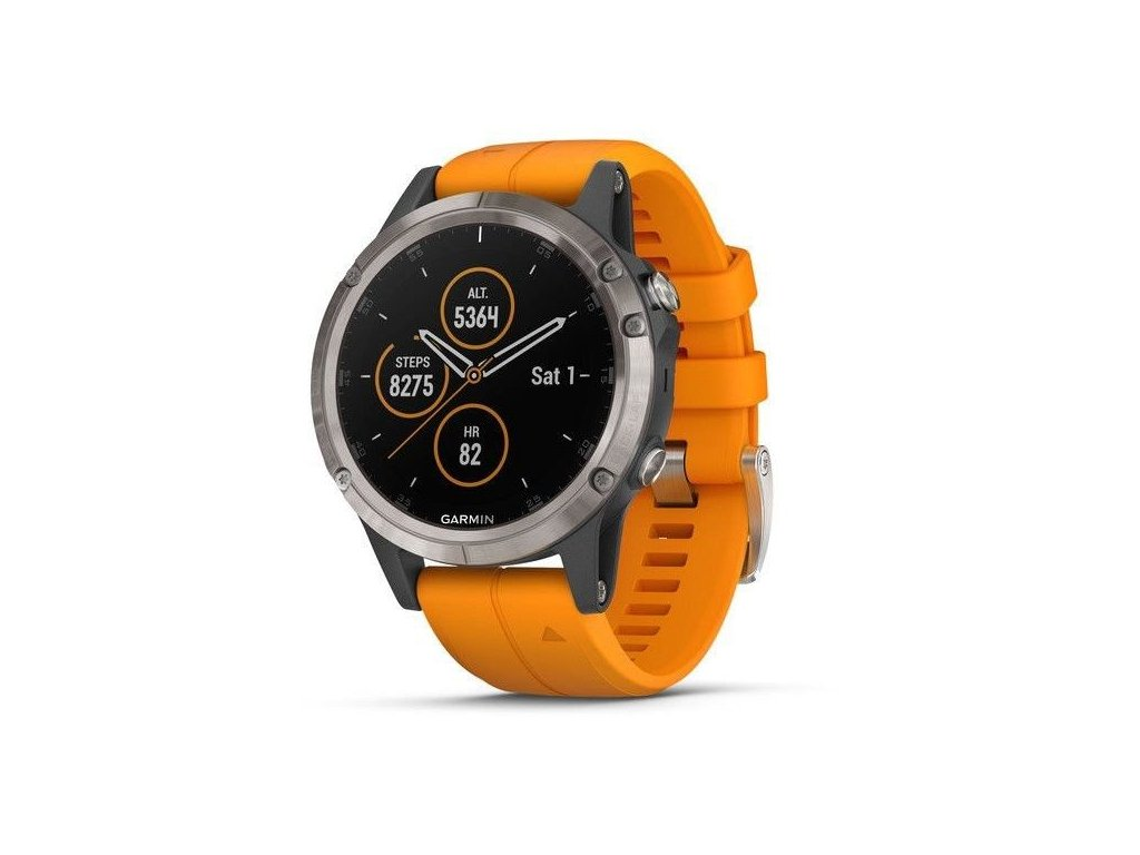 Garmin fenix5 Plus PRO Sapphire Titanium, Orange Band