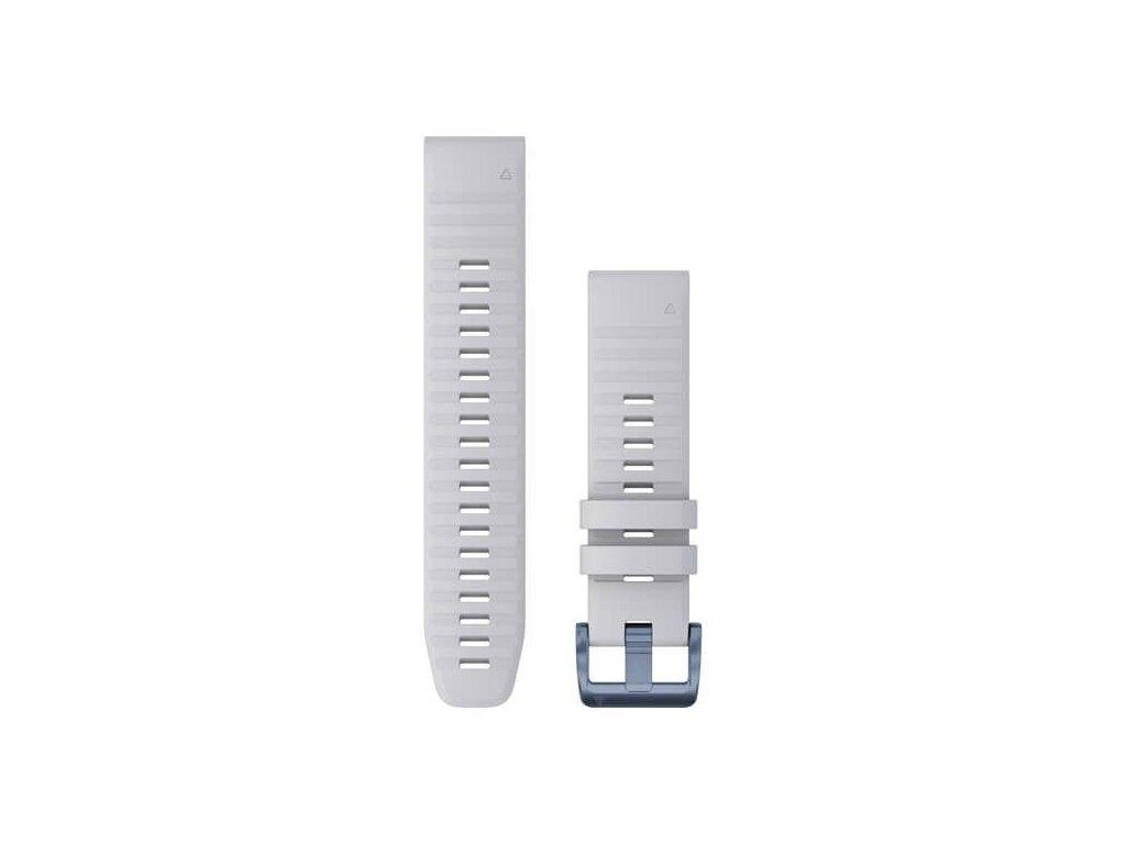 Řemínek pro fenix6 Solar - QuickFit 22, silikonový, bílý, modrá přezka