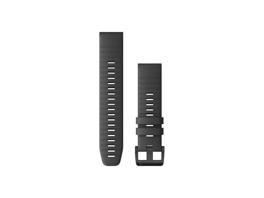 Řemínek pro fenix6 Solar - QuickFit 22, silikonový, tmavě šedý, černá přezka