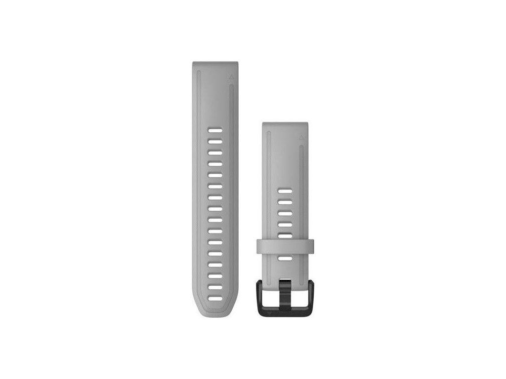 Řemínek QuickFit 20, silikonový, šedý, černá přezka