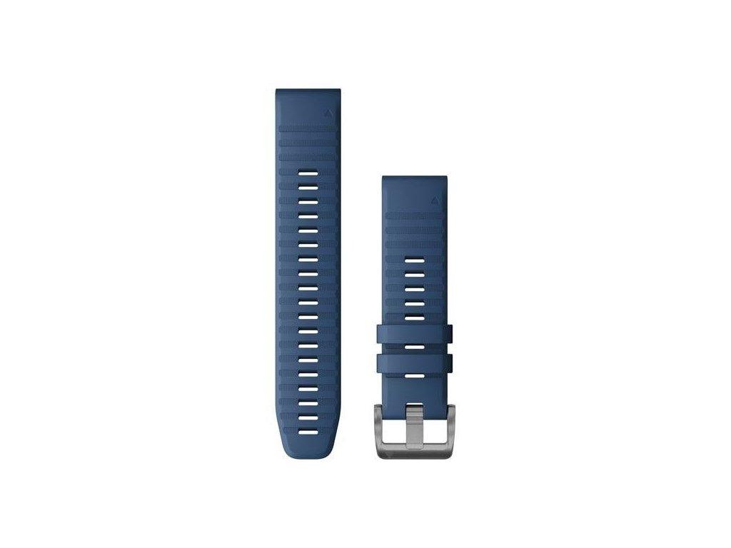 Řemínek pro Quatix6 - QuickFit 22, silikonový, tmavě modrý, stříbrná přezka