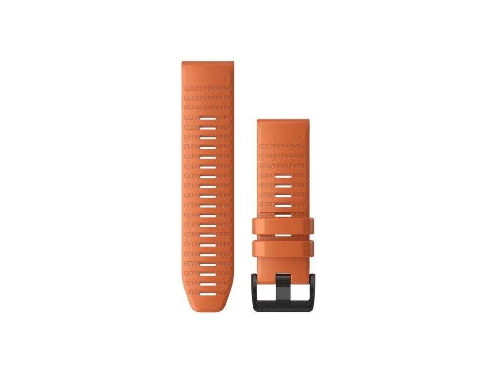Řemínek pro fenix6X - QuickFit 26, silikonový, oranžový, černá přezka