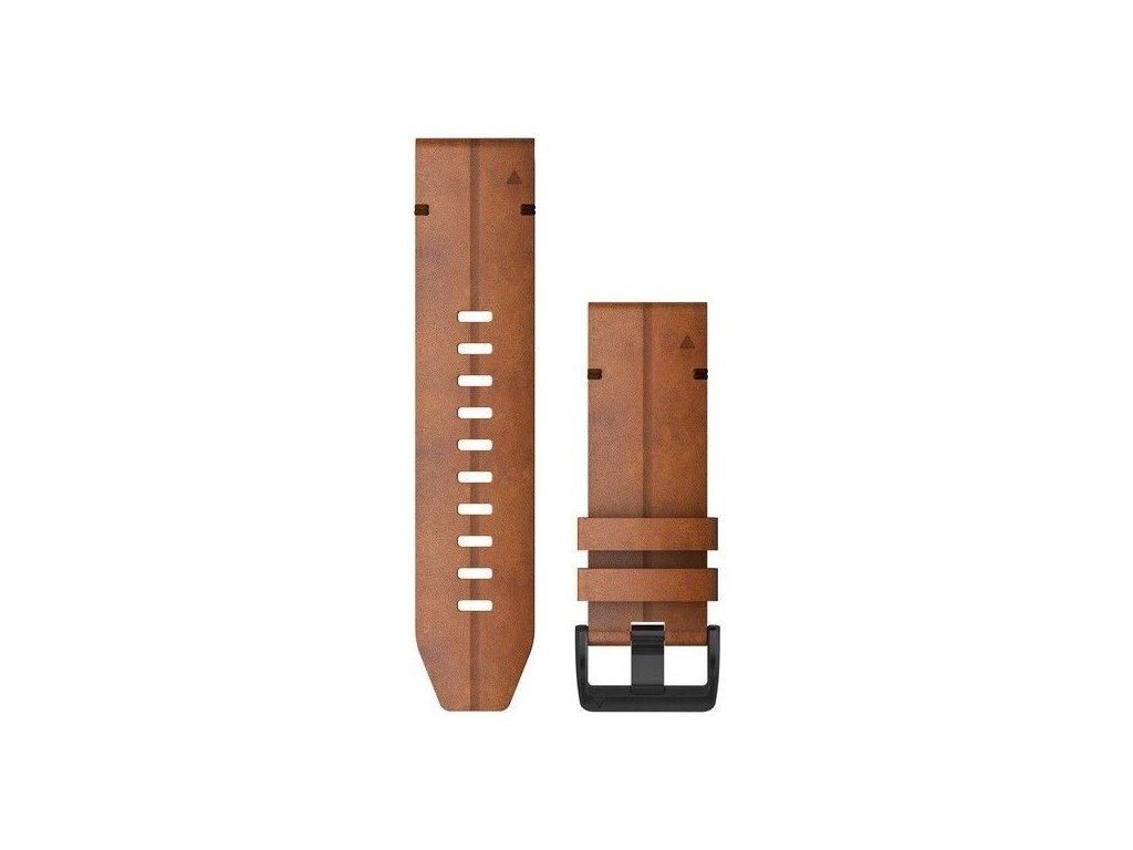 Řemínek pro fenix6X - QuickFit 26, kožený, hnědý, černá přezka