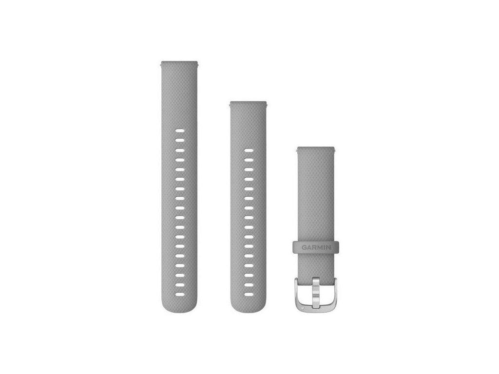 Řemínek Quick Release 18mm, silikonový šedý, stříbrná přezka