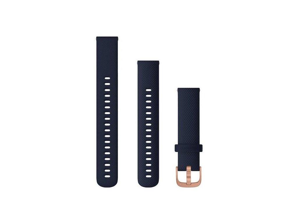 Řemínek Quick Release 18mm, silikonový tmavě modrý, růžovozlatá přezka