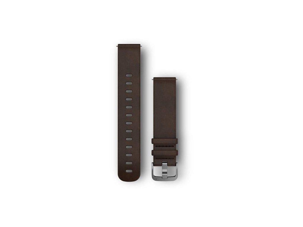 Řemínek Quick Release 20mm, kožený tmavě hnědý, stříbrná přezka