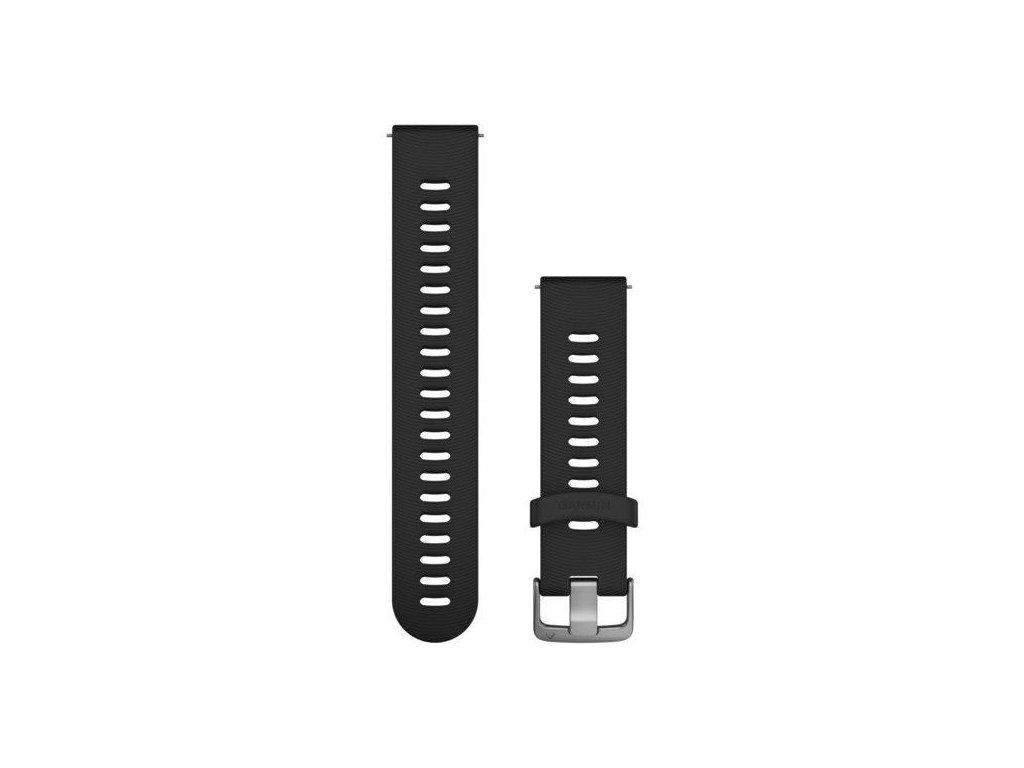 Řemínek Quick Release 20mm, silikonový černý, sportovní, stříbrná přezka