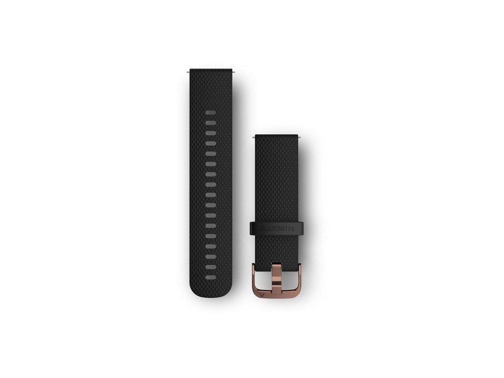 Řemínek Quick Release 20mm, silikonový černý, růžovozlatá přezka